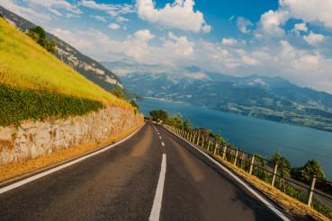 Scenic Swiss Road Lake Thun