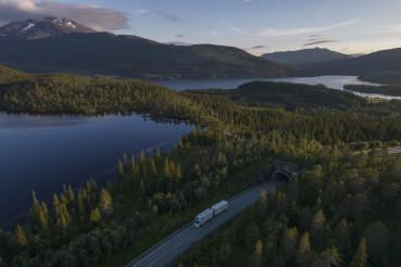 Semi Truck on the Scenic Nordland Norwegian Road