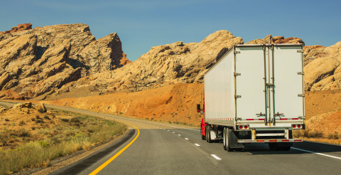 Semi Truck Vehicle on a Scenic Route