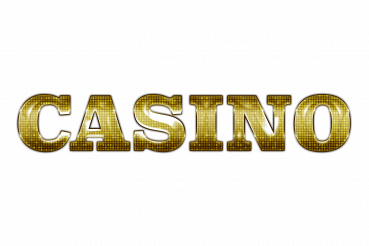 Shiny Golden Casino Word PNG Illustration