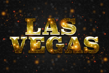 Shiny Golden Las Vegas Sign