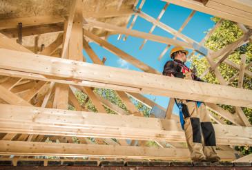 Skeleton Wood Frame Of House Building