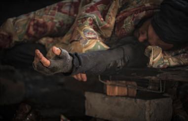 Sleeping Homeless Alcoholic
