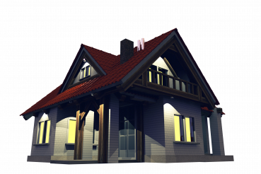 Small Residential House at Night PNG Isolated Illustration