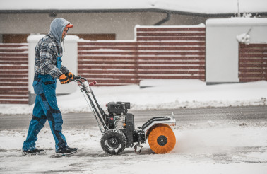 Snow Removal Using Power Broom