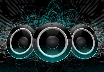 Three Large Speakers Music Graphic Art.