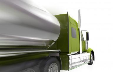Speeding Semi Truck Isolated