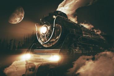 Speeding Steam Locomotive