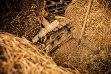 Storage Barn and Pitchfork