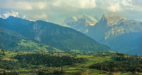 Lake Thun Travel Destination Area In Switzerland.