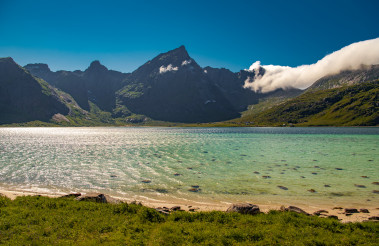 The Lofoten Summer Sunny Day with Sheltered Turquoise Bay.