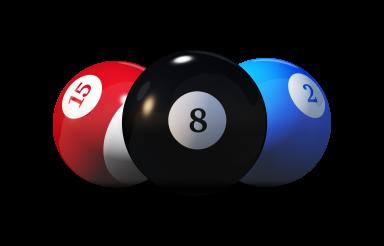 Three Billiard Balls 3D Render Isolated