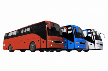 Three Colorful Coach Buses