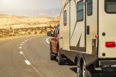 Travel Trailer RV on a Scenic Utah Route