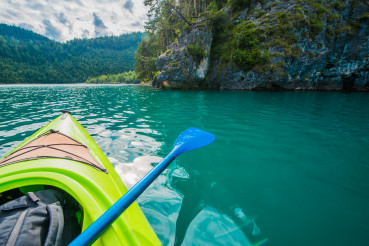 Turquoise Mountain Lake Kayaking