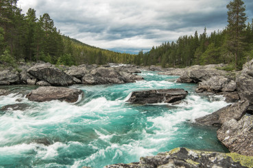 Turquoise River in Vestland County of Norway