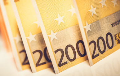 Two Hundred Euro Banknotes Close Up