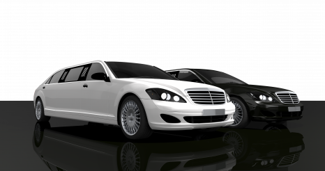 Two Modern Limousine Cars PNG 3D Render