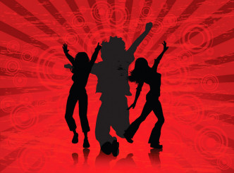 Vector Dancers Red Disco Background
