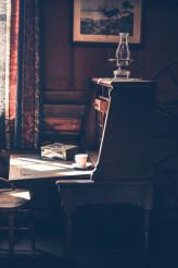 Vintage Desk in Dark Room