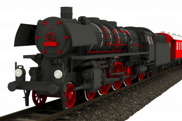 Vintage Steam Locomotive 3D Isolated PNG Graphic