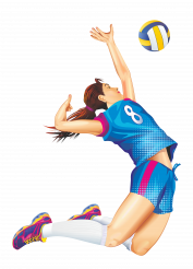 Volleyball Match Female Player Serve PNG Graphic
