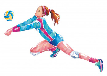 Volleyball Player in Action Geometric Concept