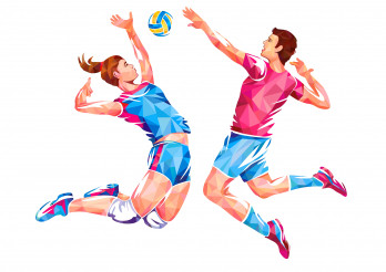 Volleyball Players Conceptual Geometric Design