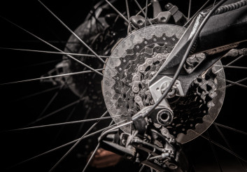 Bicycle Back Wheel With Gears And Chain.