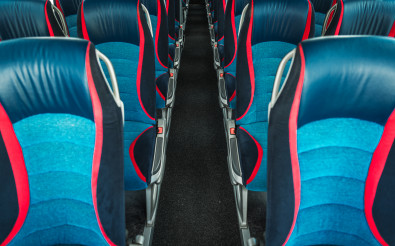 Interior Of Modern Bus With Comfortable Seats.
