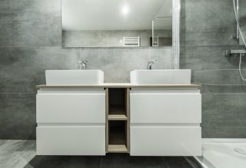 Modern Gray And White Bathroom.