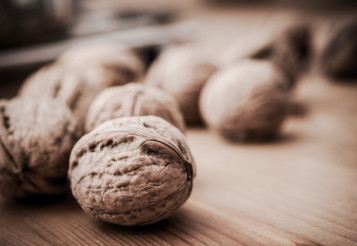 Walnuts on Wood Table
