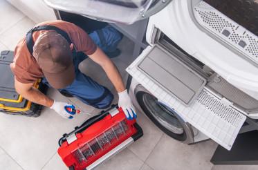 Washing Machine Fixing by Caucasian Professional Technician