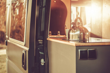 Water Kettle Inside Modern Camper Van