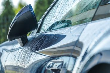 Wet Vehicle Body After Car Washing