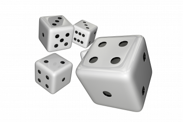 White Casino Dices Throw 3D Isolated Graphic