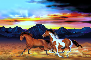 Wild Horses Run Illustration
