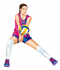 Woman Volleyball Player Isolated Illustration