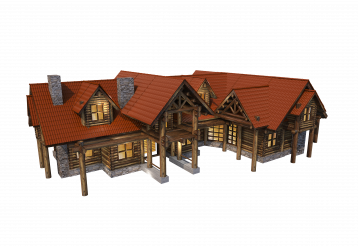 Wood Cabin House PNG Render 3D