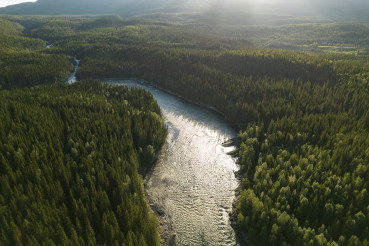 Woodlands and the River of Nordland County Norway Aerial View