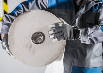 Worker with Industrial Paper