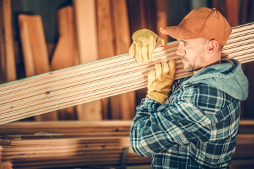 Worker with Wood Planks