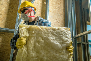 Worker with Wool Insulation
