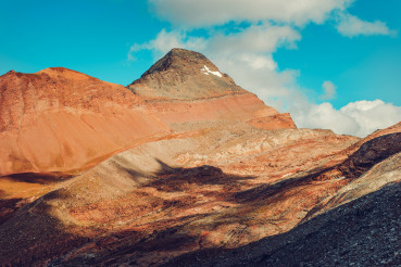 Red Mountains With Blue Sky.