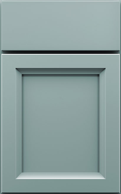 Amelia Maple cabinet door finished in Aqua with a Slab Drawer Front Standard - Product line id was not supplied.