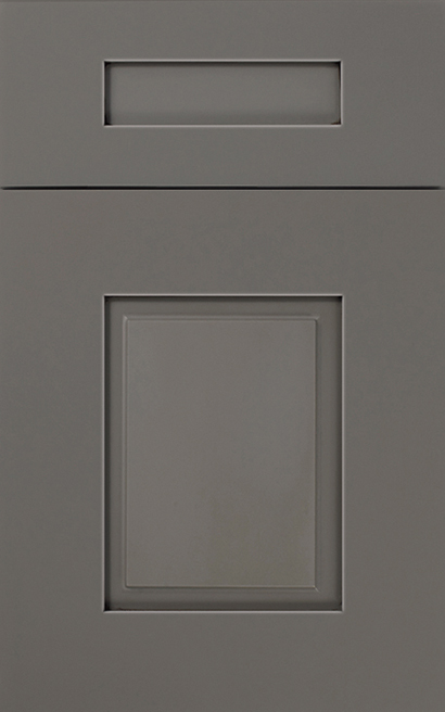 Cortland Maple cabinet door finished in Willow Java with a Classic Drawer Front Option - Aspire fameless cabinetry