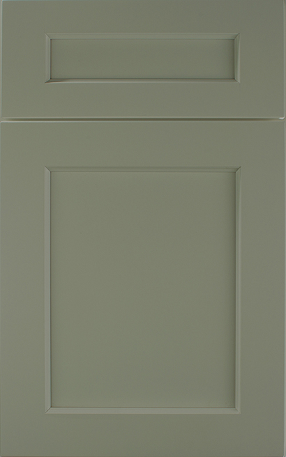 Galena Square Maple cabinet door finished in Olive with a Classic Drawer Front Option - Aspire fameless cabinetry