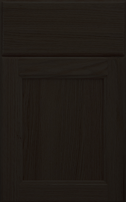 Henlow Square Oak cabinet door finished in Shadow with a Slab Drawer Front Standard - Aspire fameless cabinetry