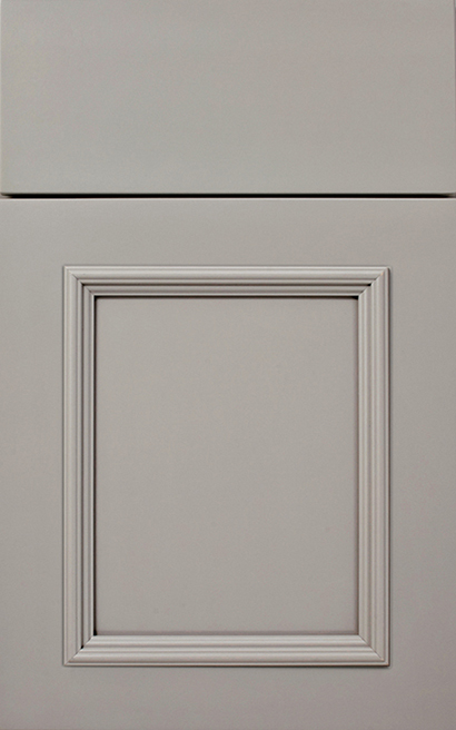 Melrose Maple cabinet door finished in Dove with a Slab Drawer Front Option - Aspire fameless cabinetry