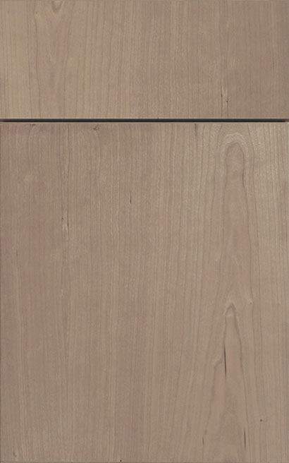 Milan Cherry cabinet door finished in Shale with a Vertical Grain Drawer Front Standard - Aspire fameless cabinetry